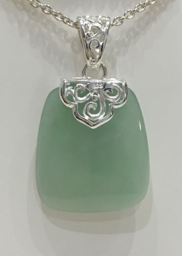 Silver Cushion Shaped Green Jade Necklace